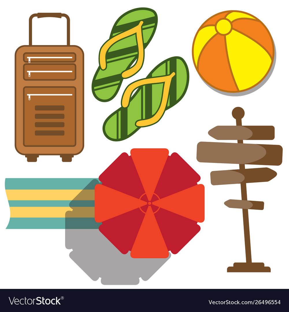 Set vacation and travel icon in flat style