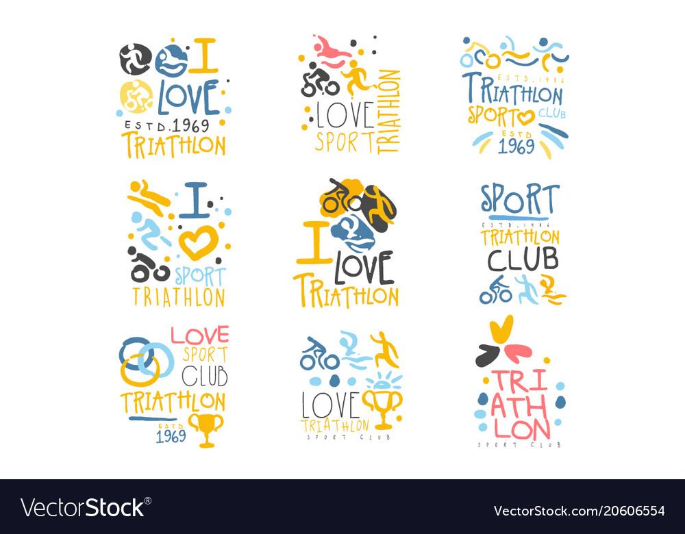 Triathlon supporters and fans club for people that vector image