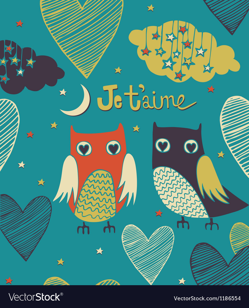Valentines card Owls couple Seamless pattern
