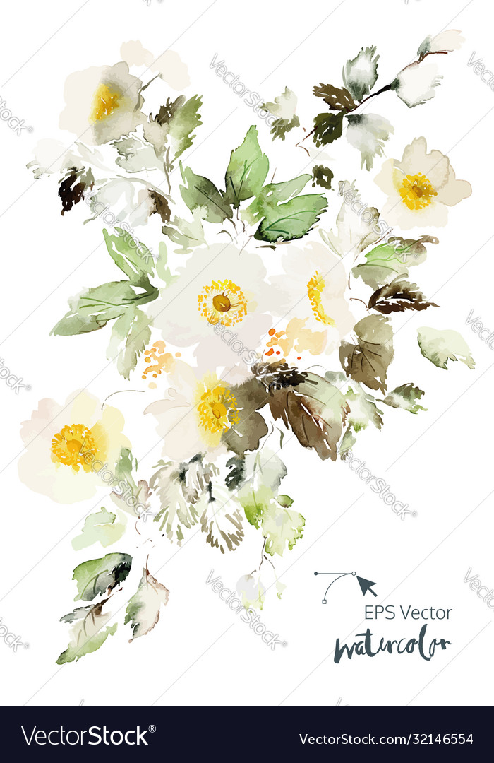 Watercolor card with delicate anemones