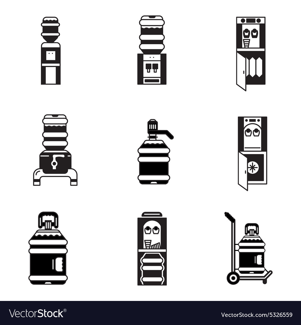 Black icons for water cooler vector image