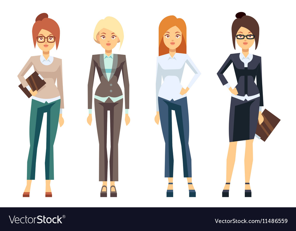 European businesswoman clothes young female