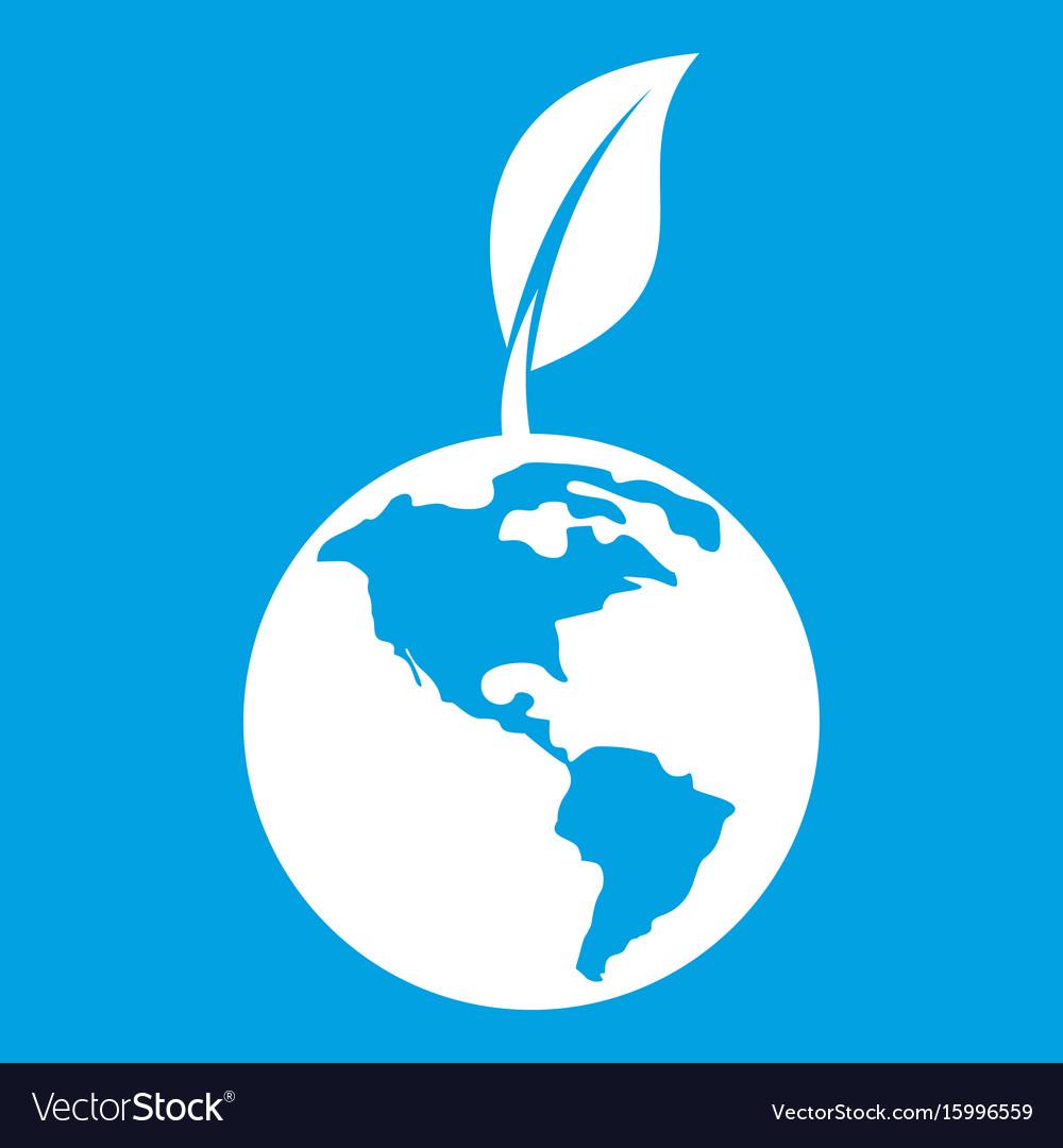 Green world qlobe with leaf icon white