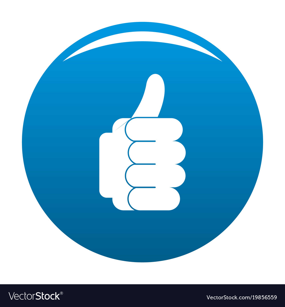 hand approval icon blue royalty free vector image