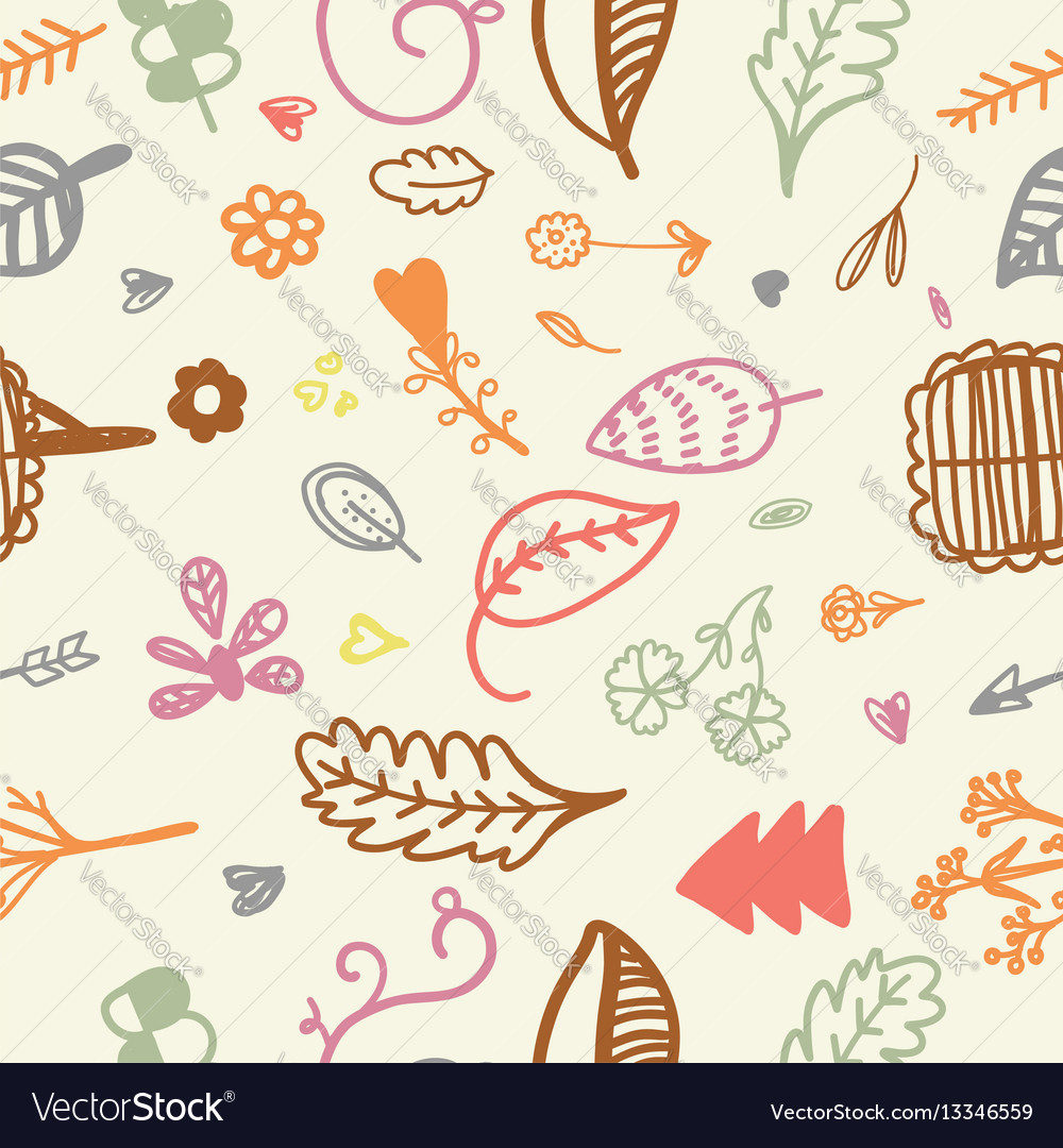 Hand drawn seamless romantic floral pattern
