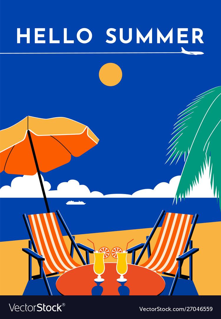 Hello summer travel poster sunny day beach sea