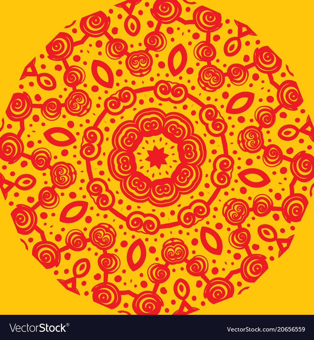Mandala-like pattern on yellow vector image