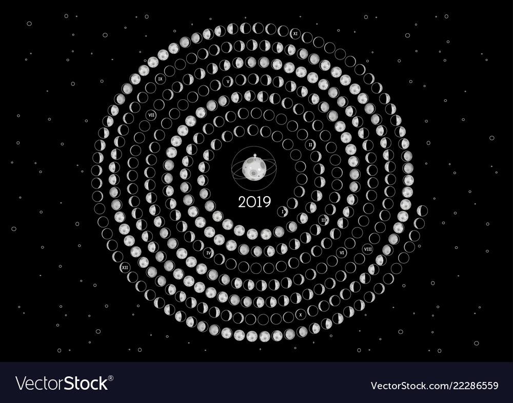 Moon Calendar 2019 Southern Hemisphere Royalty Free Vector