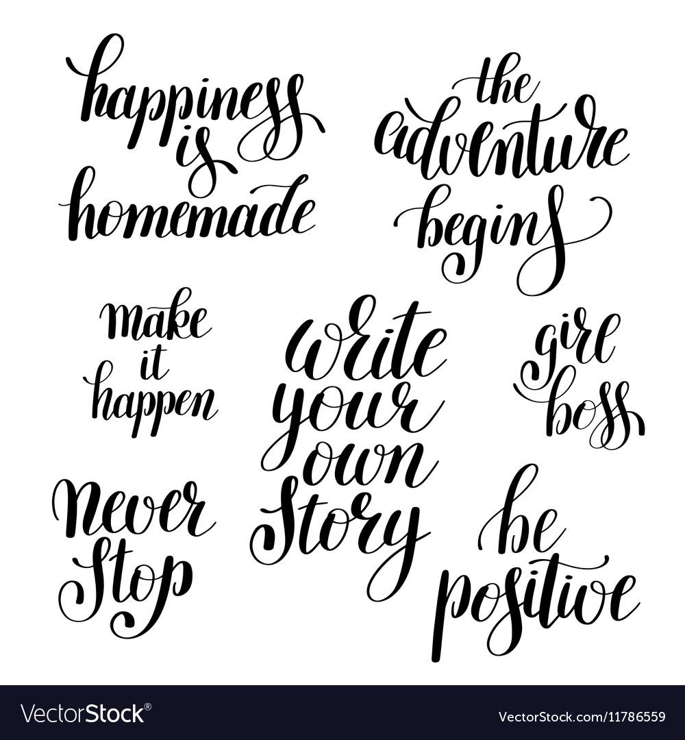 Set of handwritten positive inspirational quotes