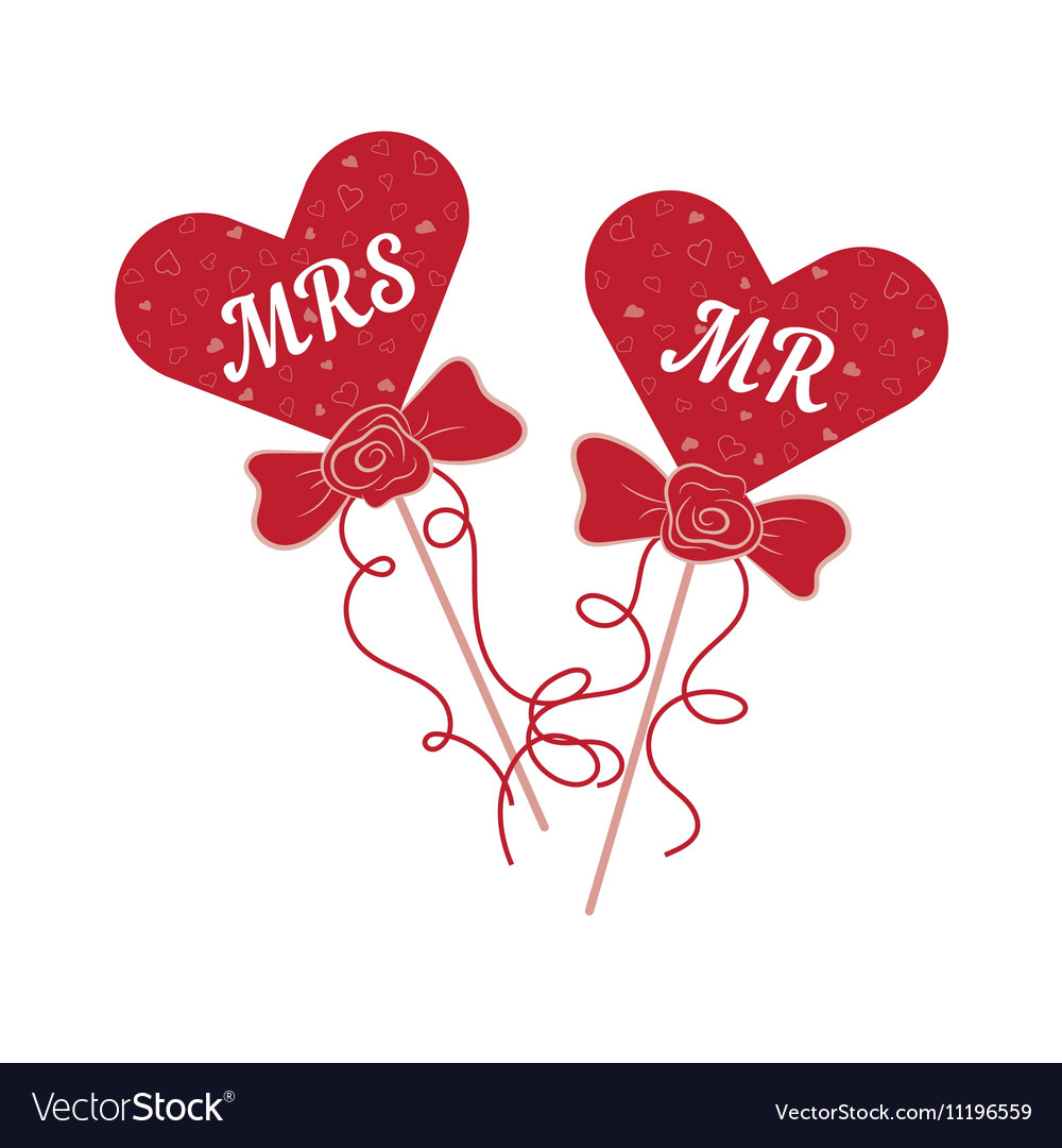 Wedding hearts MR and MRS on a stick Royalty Free Vector