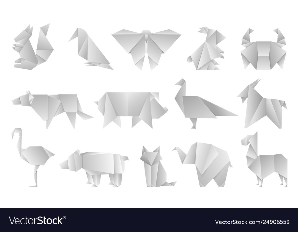 White origami animals geometric folded paper vector