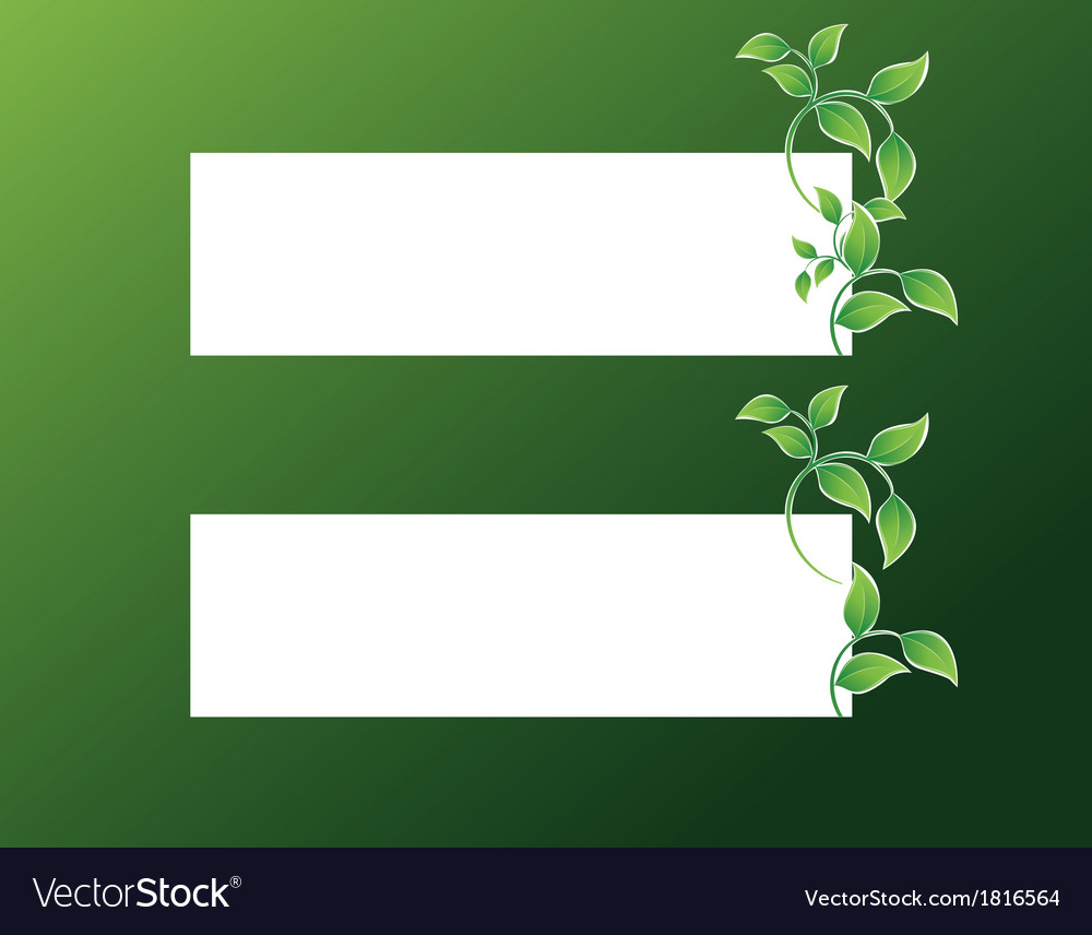 Banner with green leaves