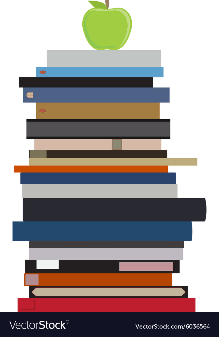 book stack and apple royalty free vector image