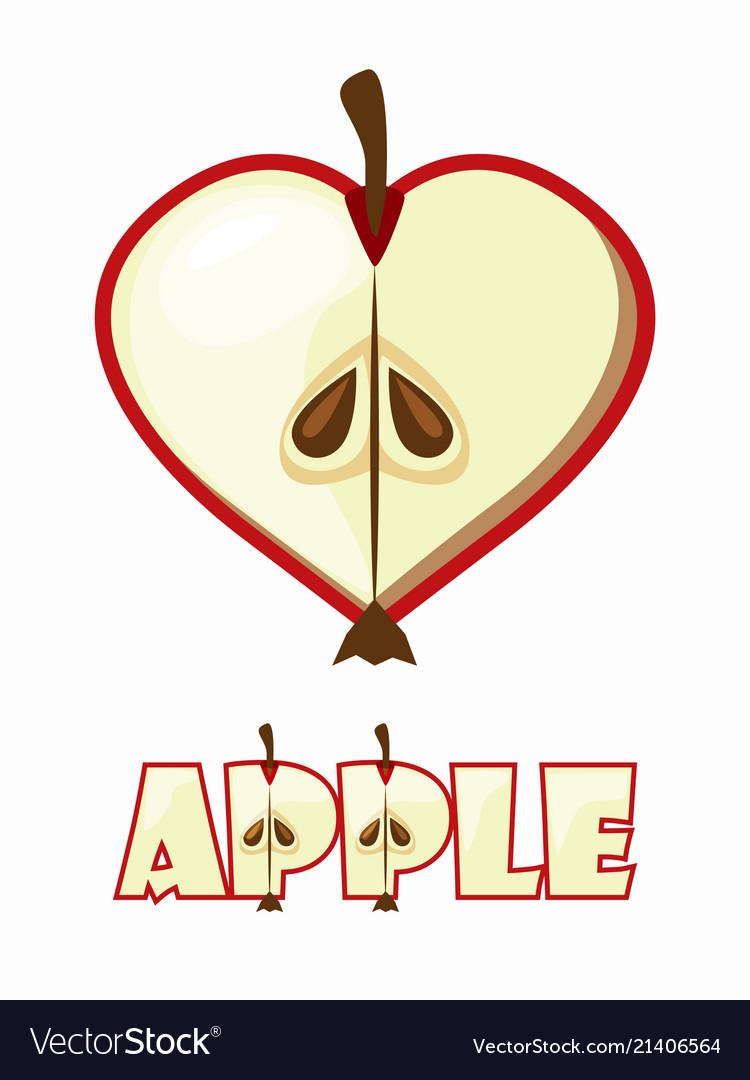 Cartoon apple in the shape hear lovely textural