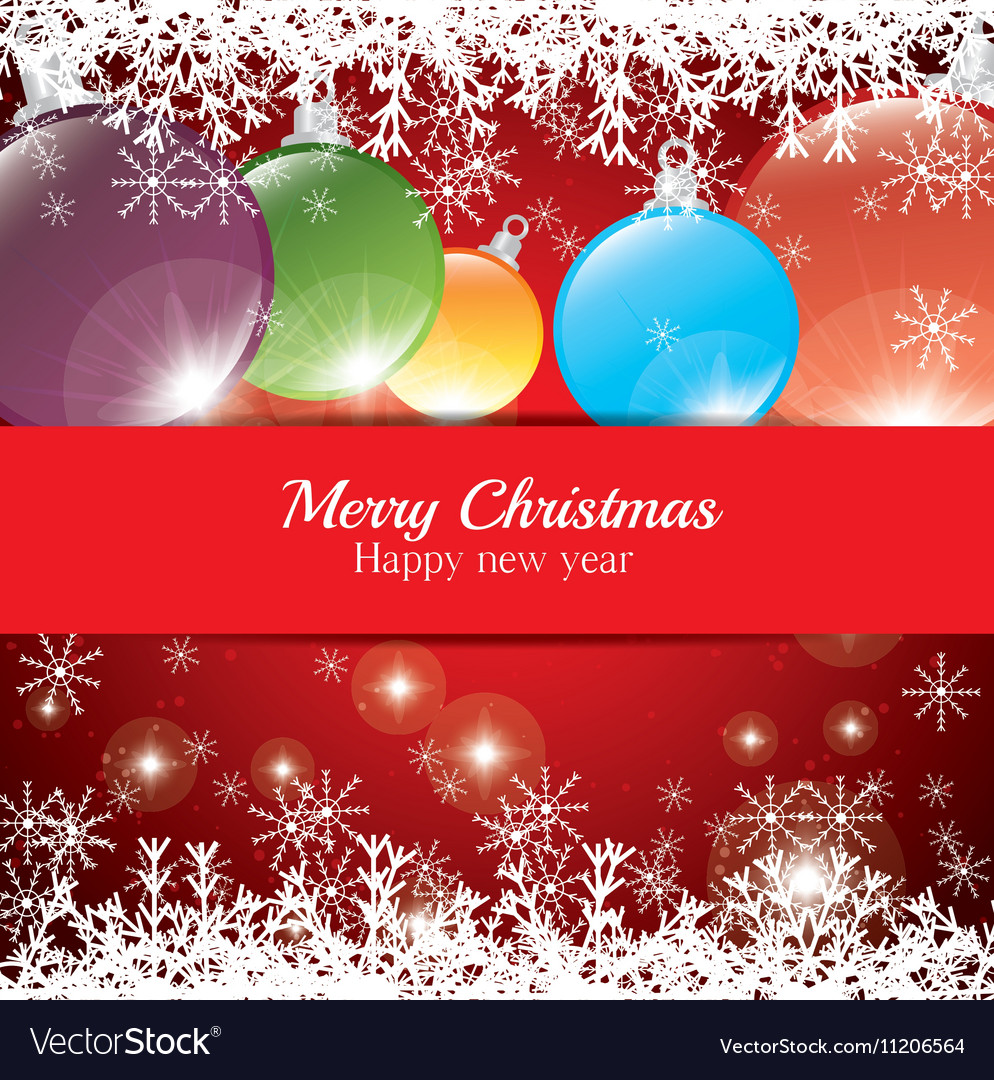 Christmas card happy new year balls snowflake