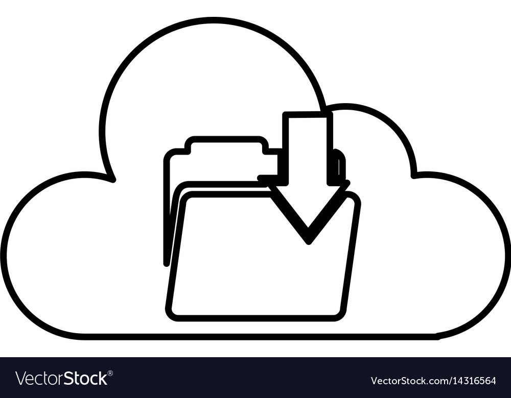 Cloud computing with folder download isolated icon
