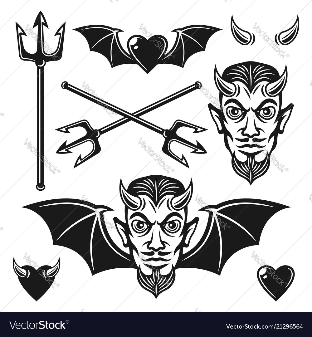 Devil black objects and design elements
