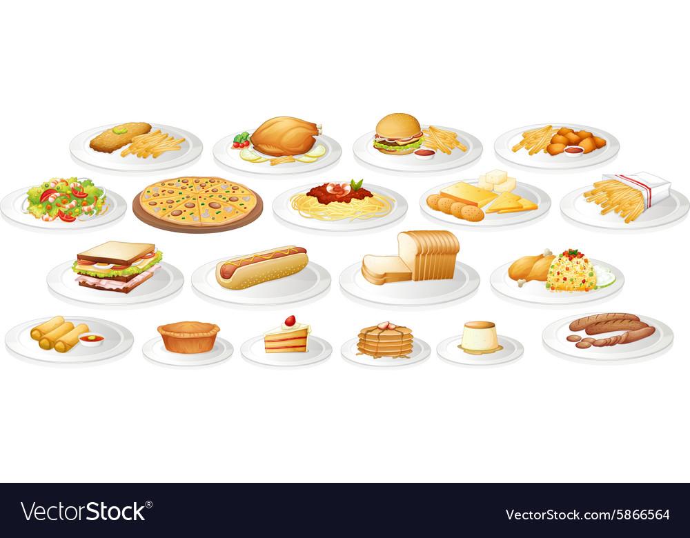 Different kind food on plates