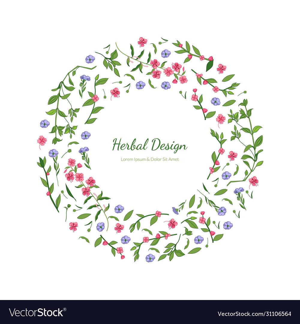 Elegant floral design circular frame with place