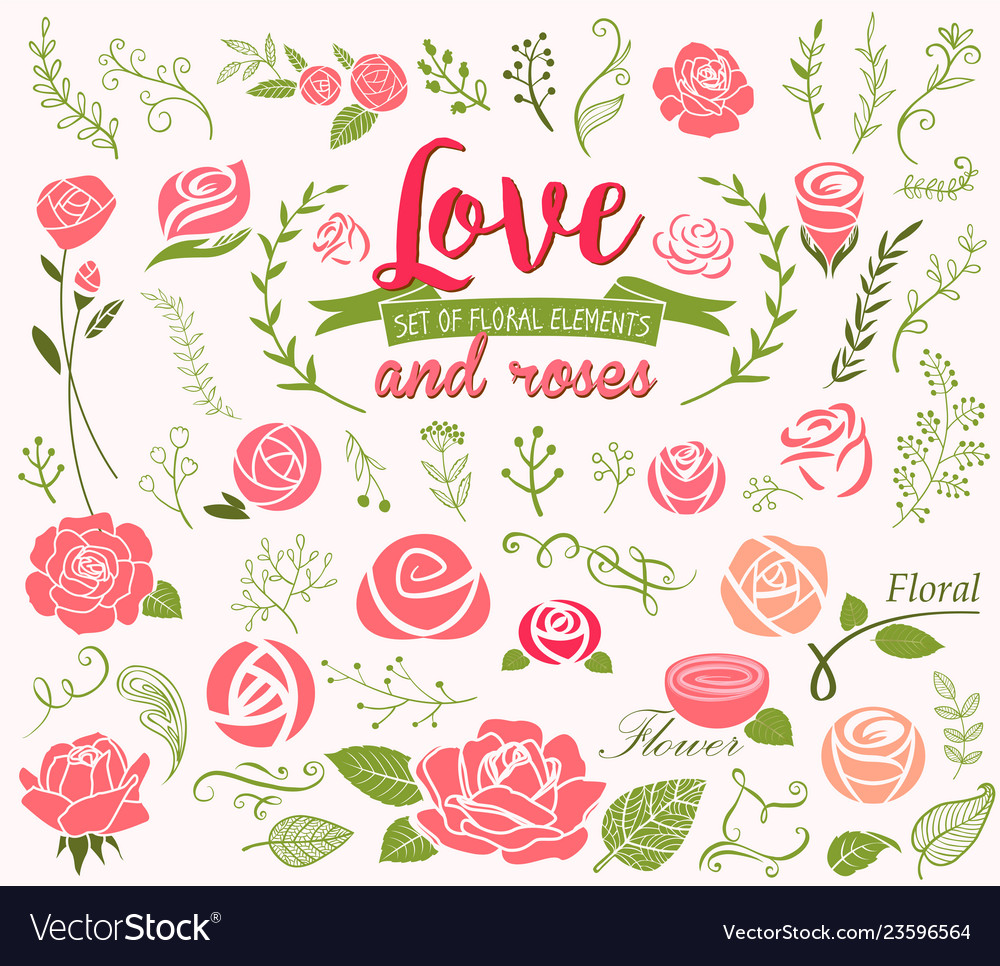 Love and roses design elements