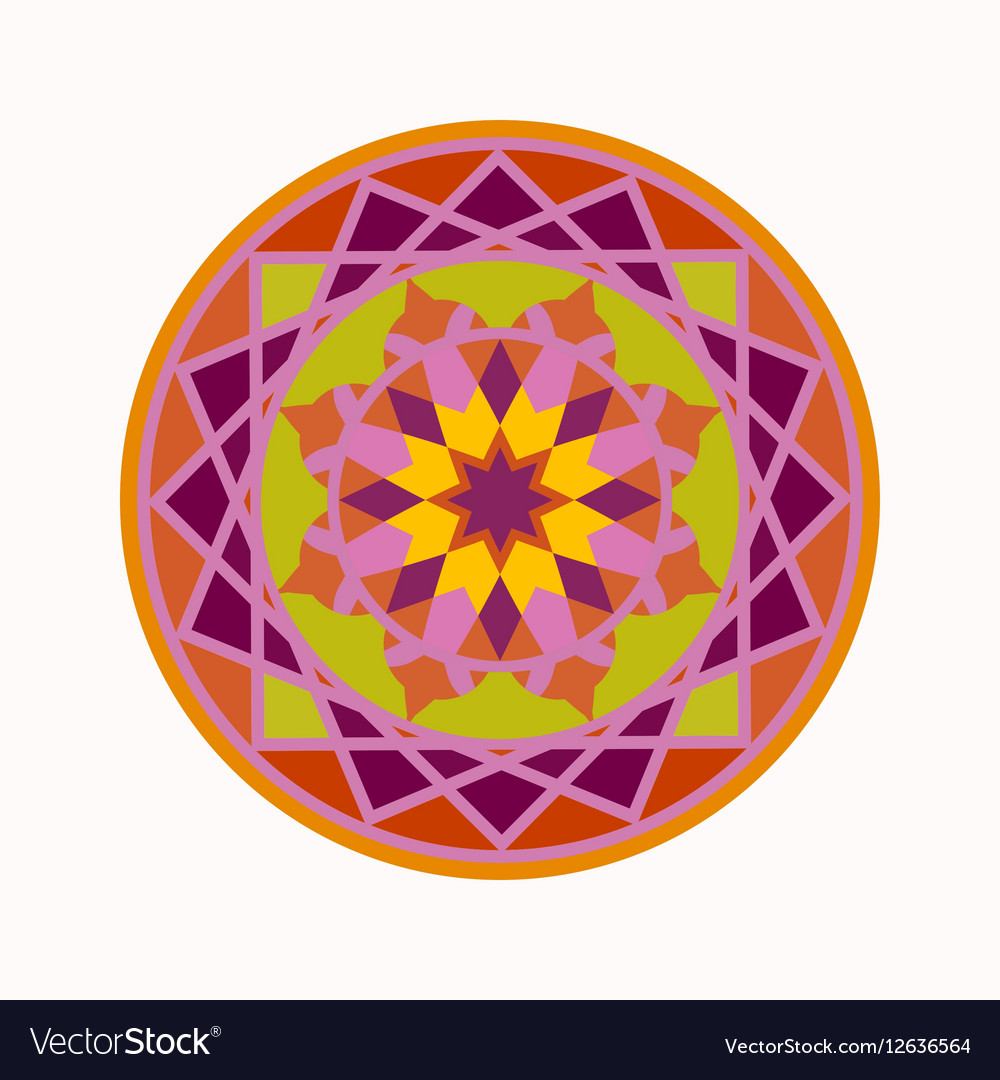 Mandala tattoo colored icon Geometric round