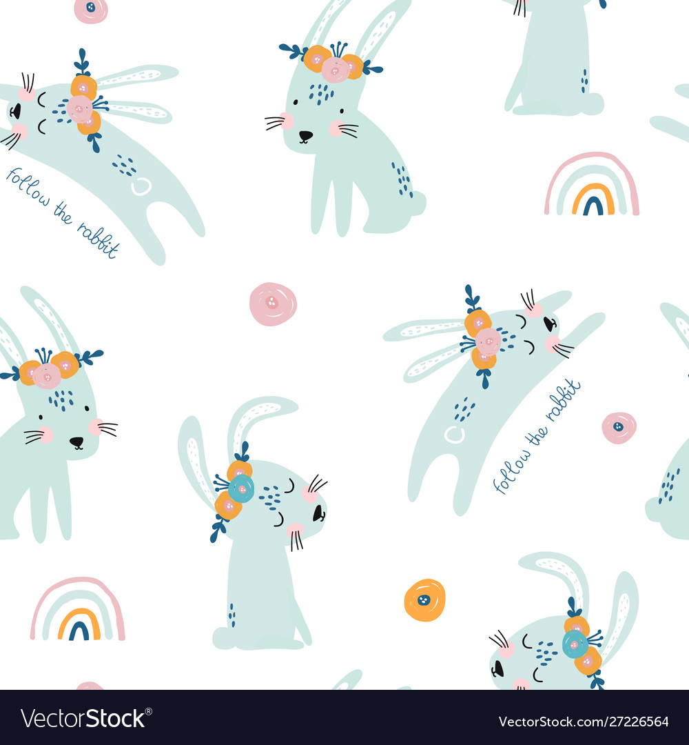 Seamless pattern with cute jumping rabbits