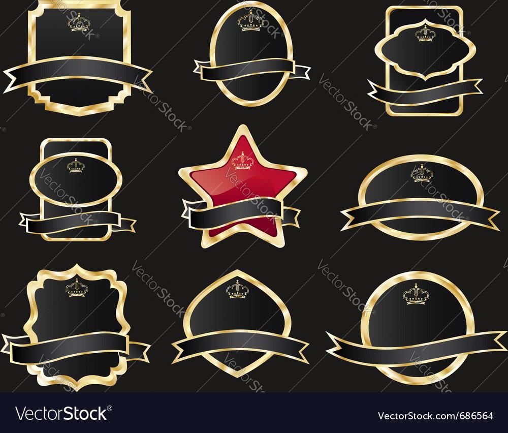 9256ba8cec4 Set of black gold-framed labels Royalty Free Vector Image