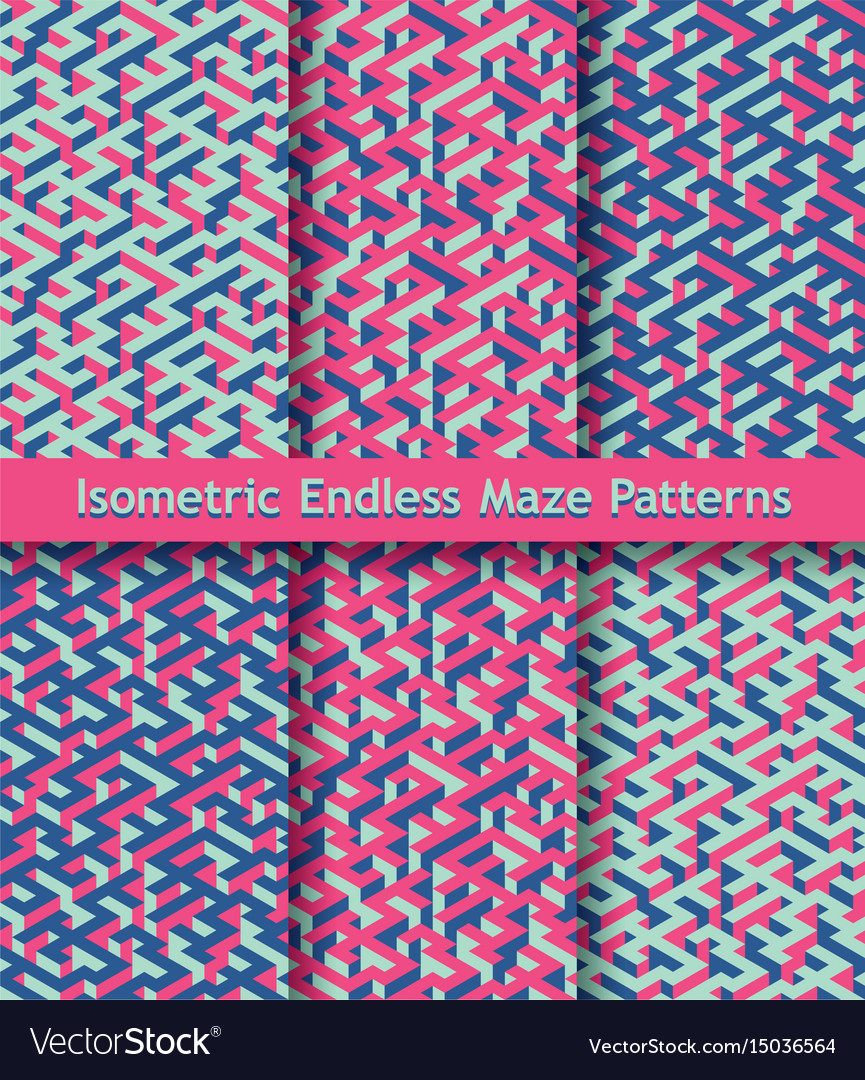 Set of colorful isometric maze patterns seamless vector image