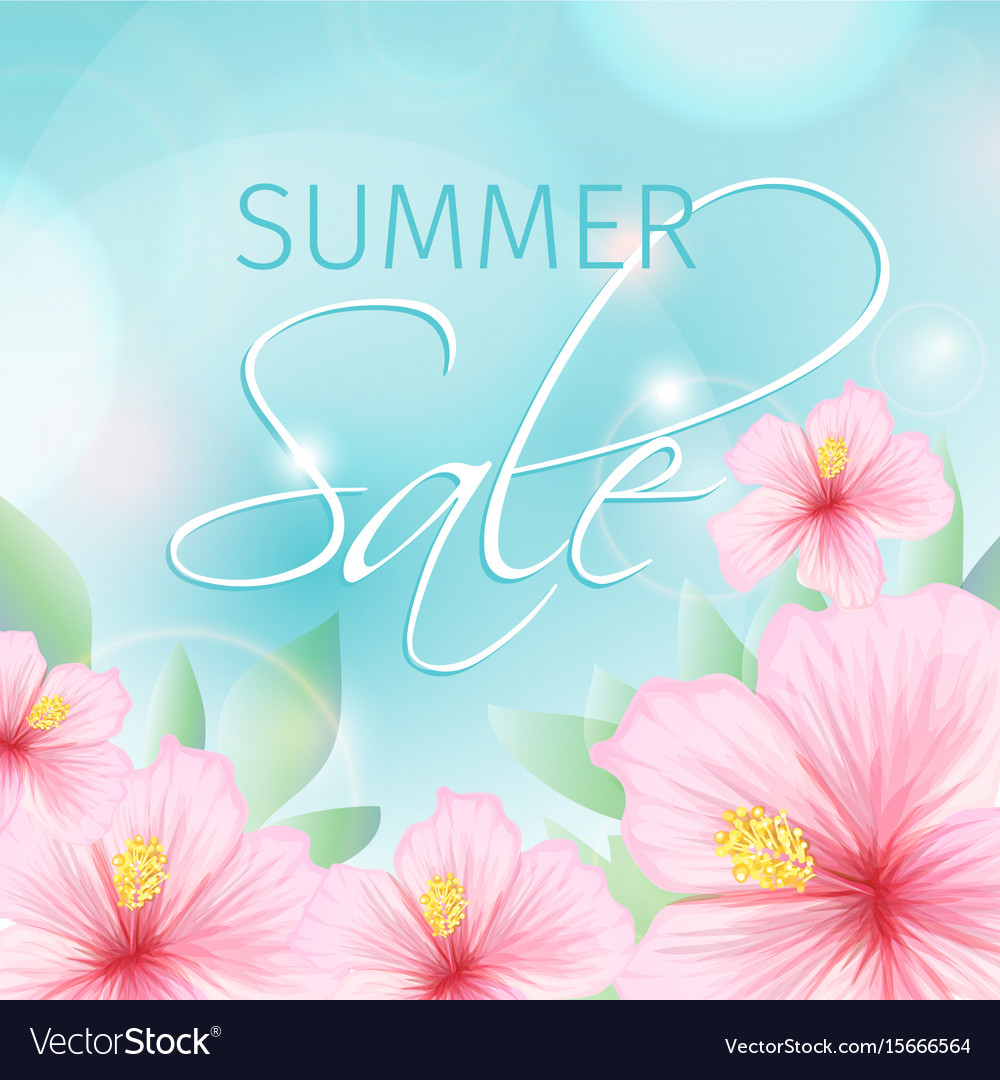 Summer sale poster with pink hibiscus background