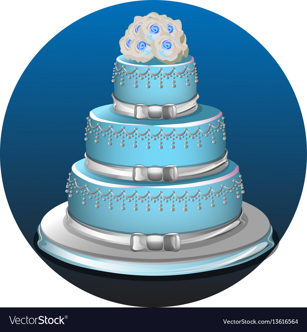 Three Tear Wedding Cakes.Three Tier Light Blue Wedding Cake Vector Image
