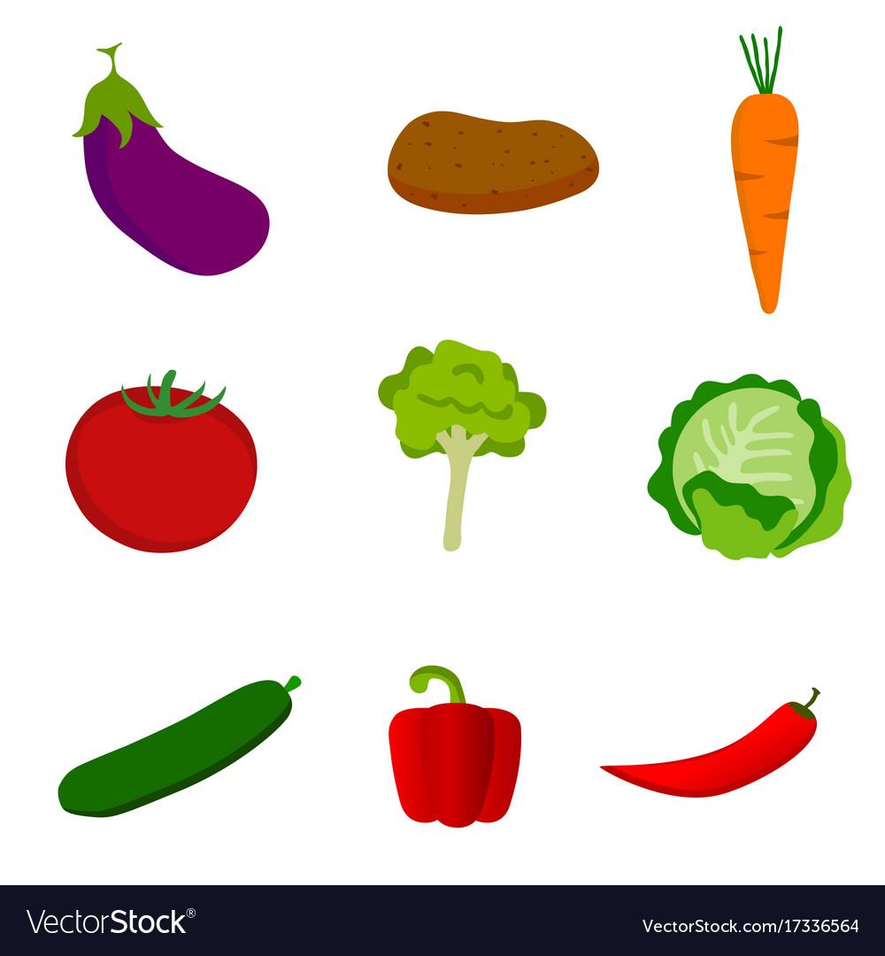 Vegetable set icon in color