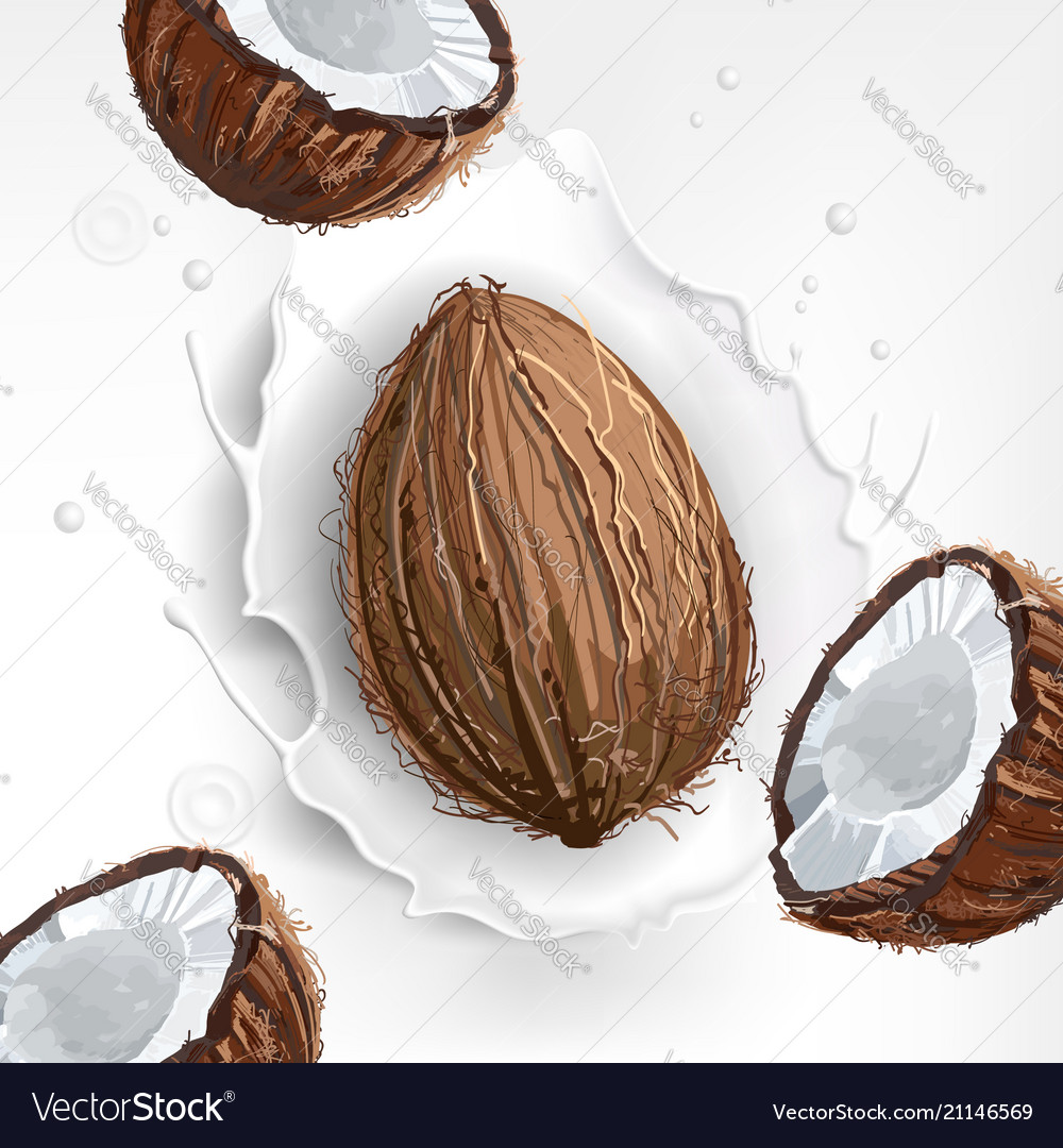 Background of coconut milk with a splash