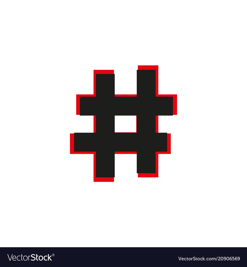 Black flat hashtag icon with long shadow on white