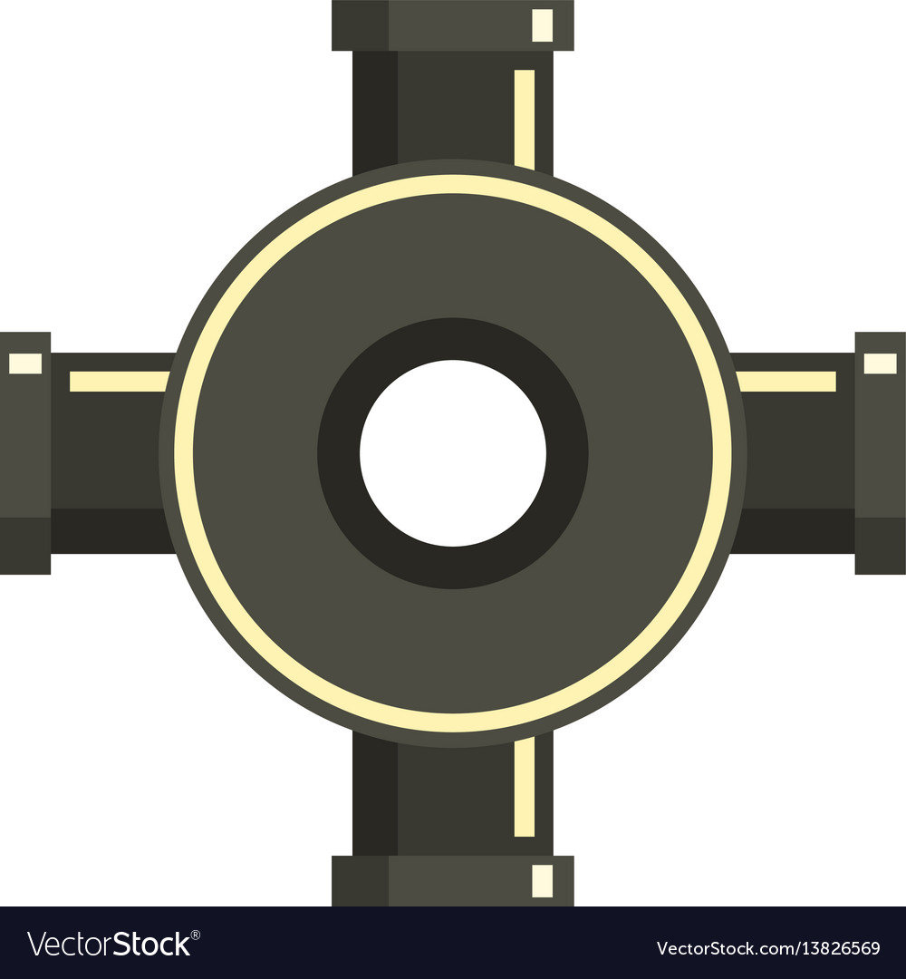 Black pipe fitting icon flat style