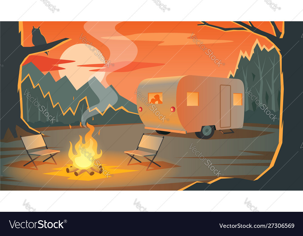 Camping landscape with camper silhouettes loving