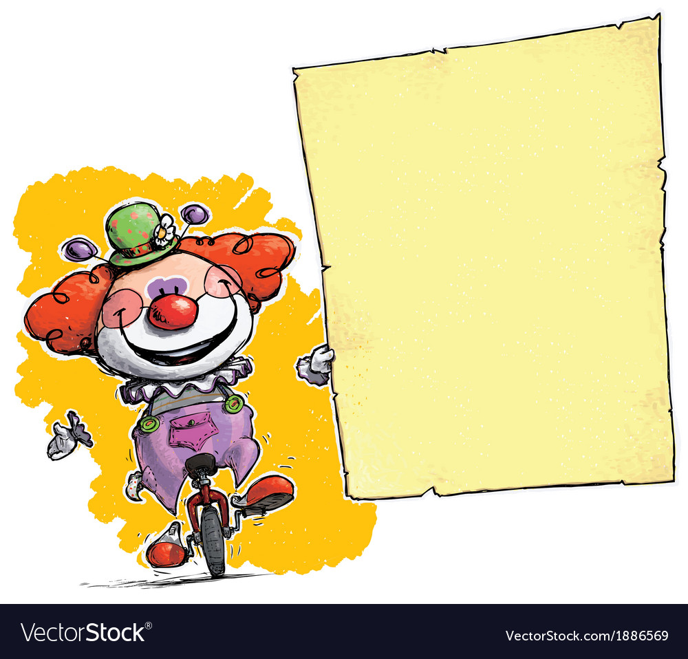 Clown on Unicle Holding Invitation Announcement