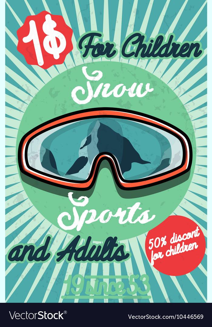 Color vintage Ski sport poster