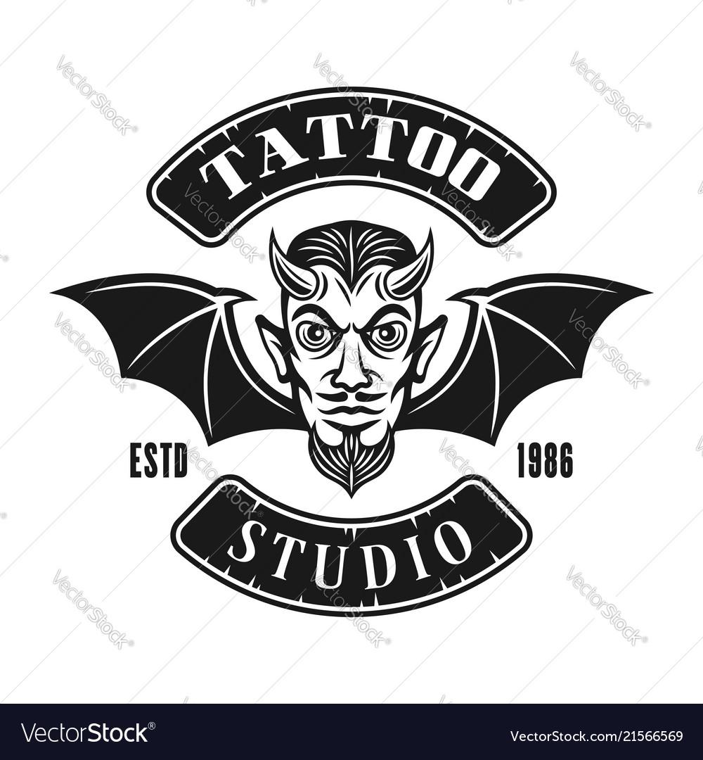 Devil head with wings tattoo studio emblem
