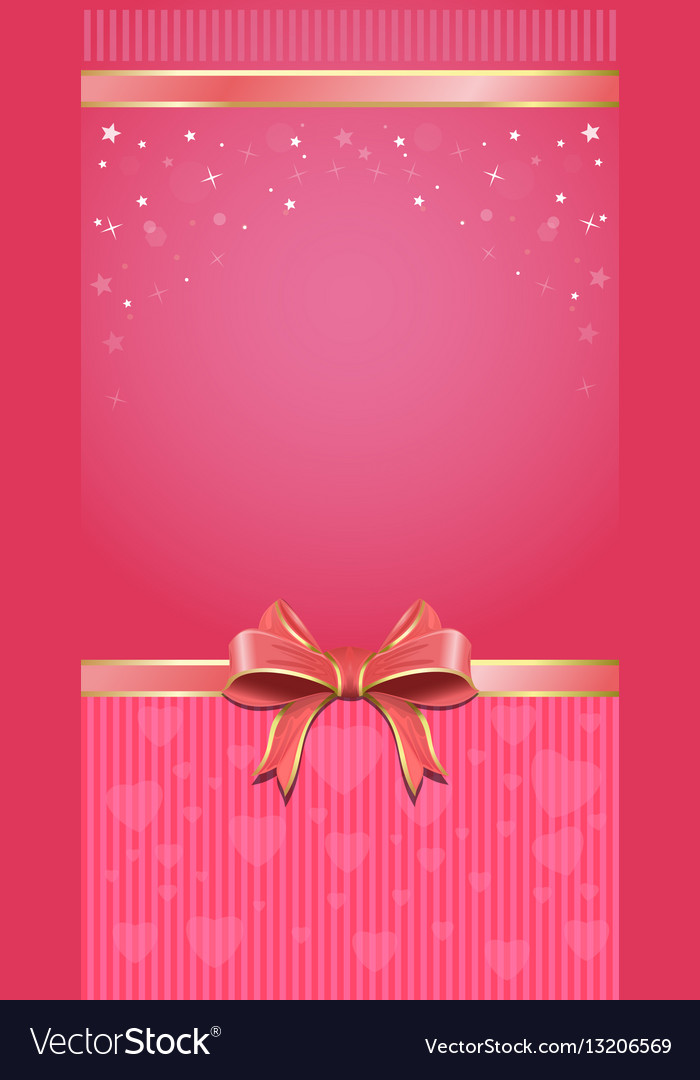 Festive pink background with ribbon and bow