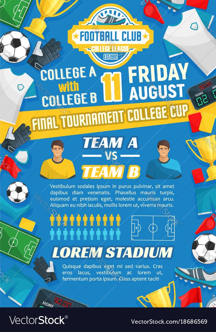 Football Match Poster For Soccer Sport Game Design