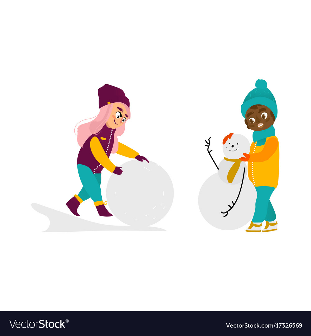 5732ca8db Kids having fun outdoors in winter set Royalty Free Vector