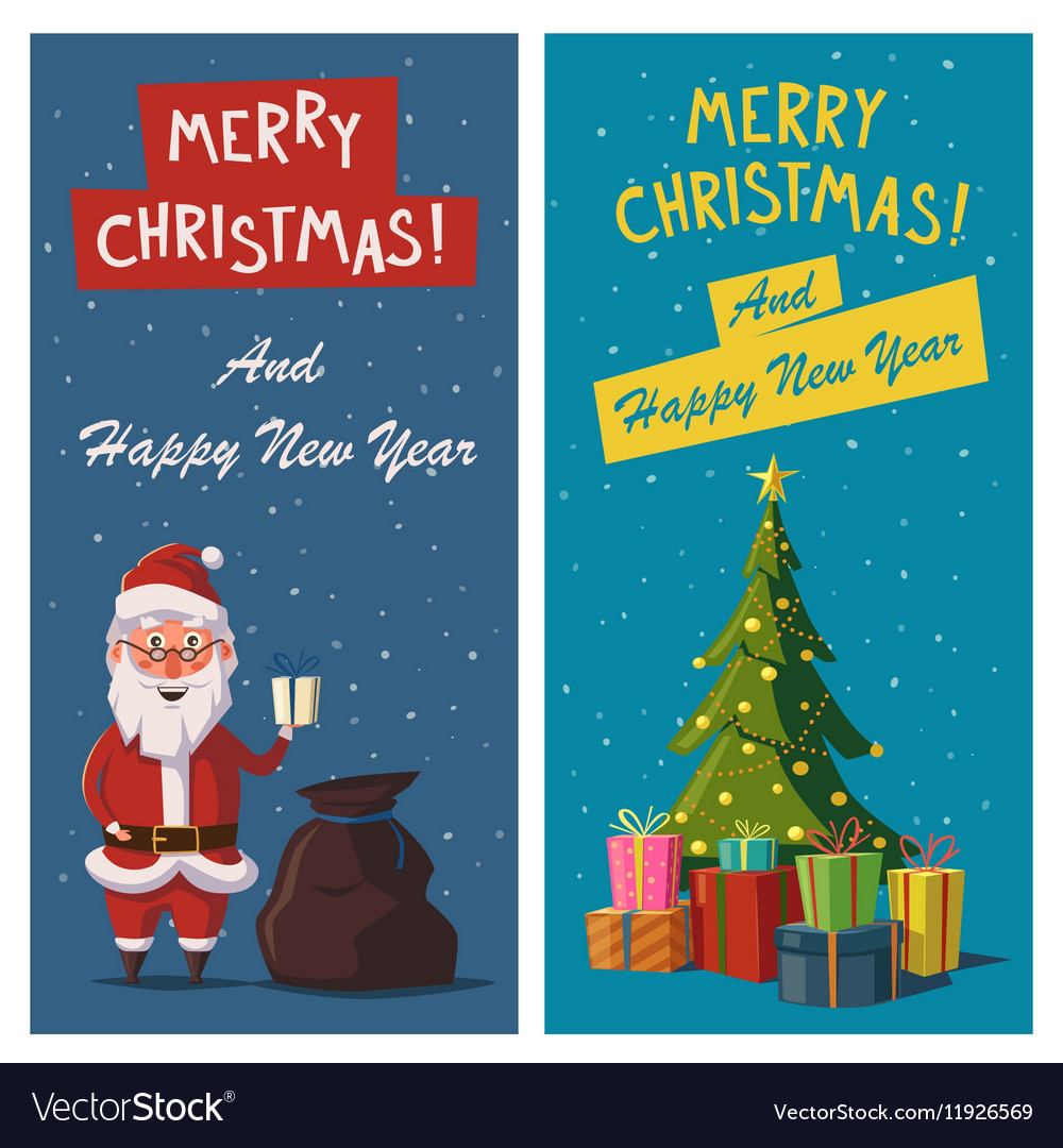 Merry Christmas and Happy New Year banners Cartoon