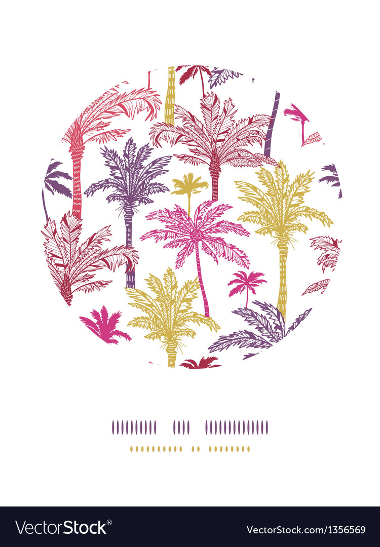 Palm trees seamless circle decor pattern vector image