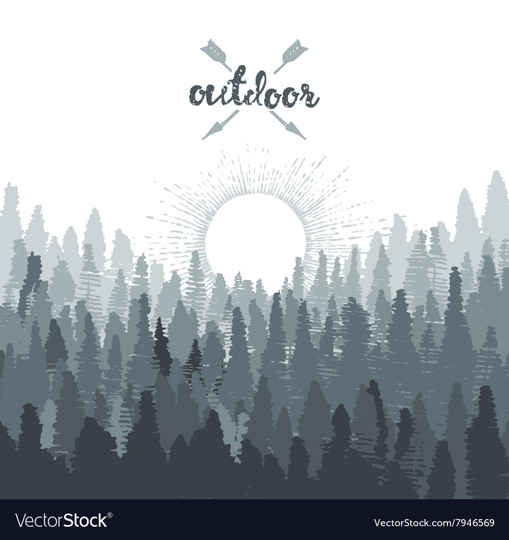 Pine forest mountains sunrise drawn sketch vector image