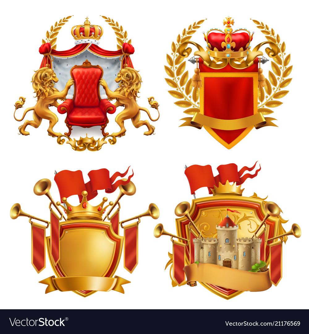 Royal coat arms king and kingdom 3d emblem set
