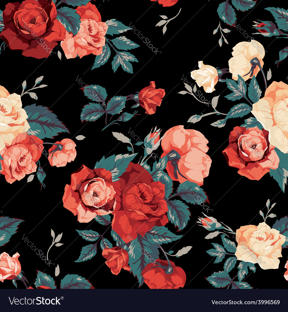Seamless floral pattern with red and orange roses