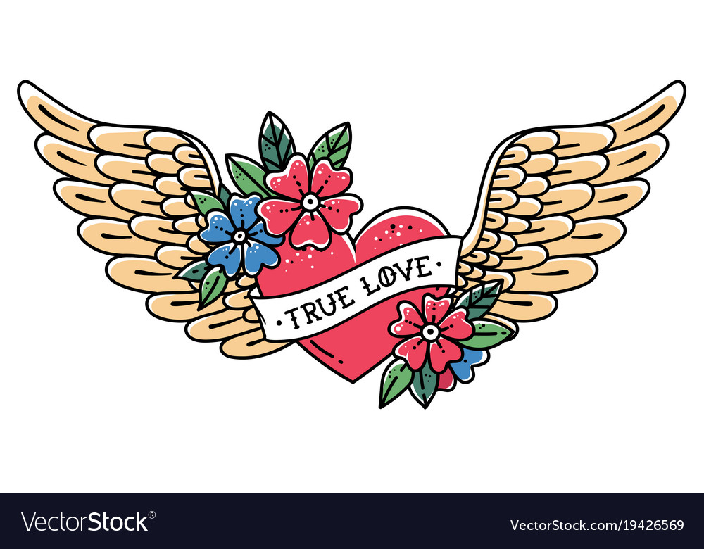 Tattoo flying heart with wings true love