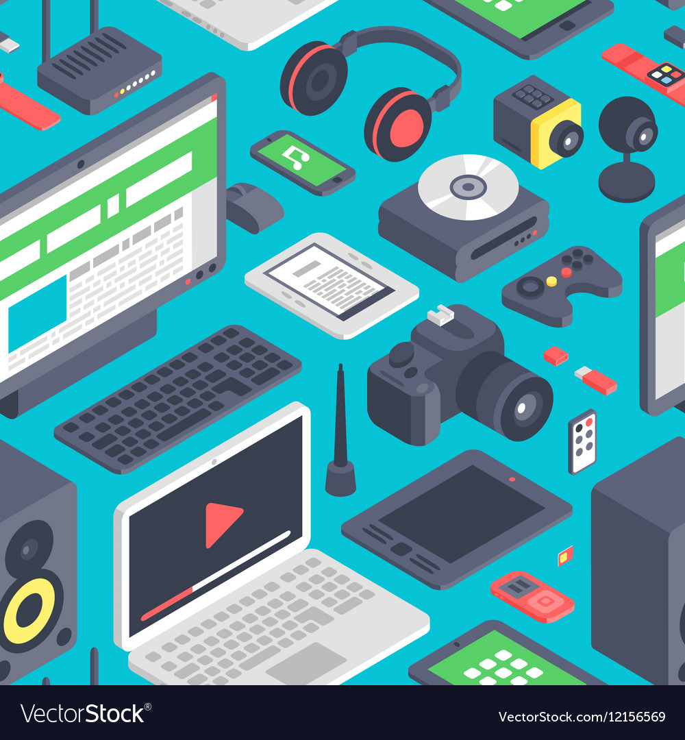 Technology computer seamless pattern vector image