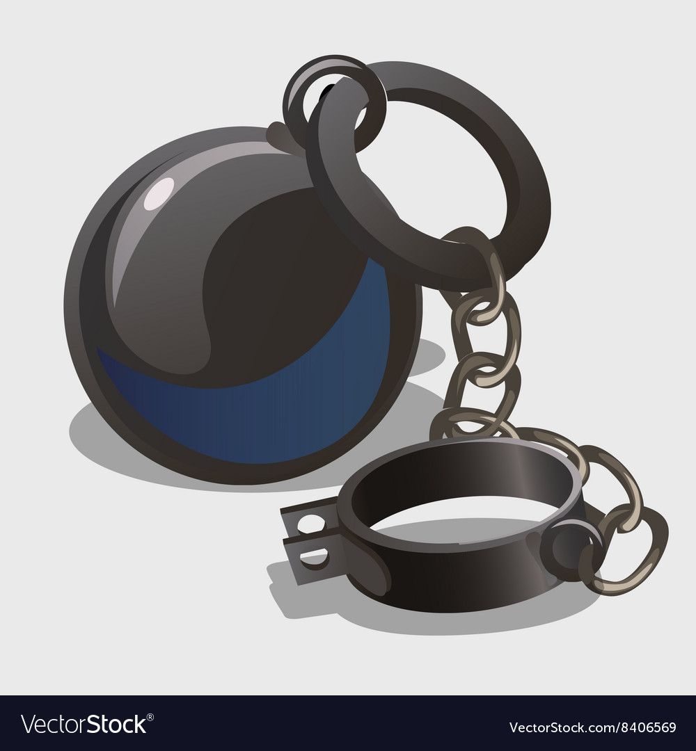 Vintage shackle with weights symbol of slavery vector image