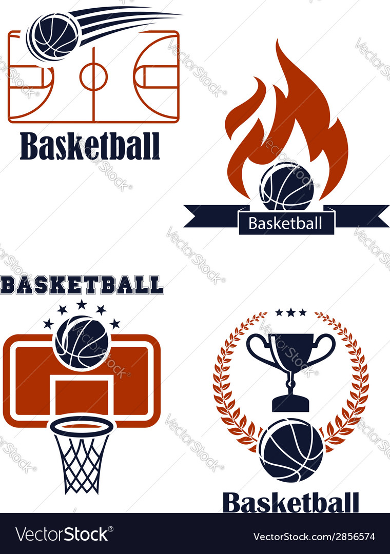 Basketball sport emblems or logos vector image